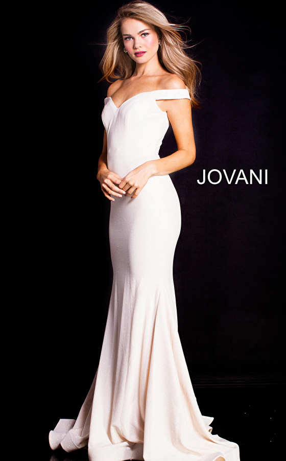 White off the shoulder prom dress 55187