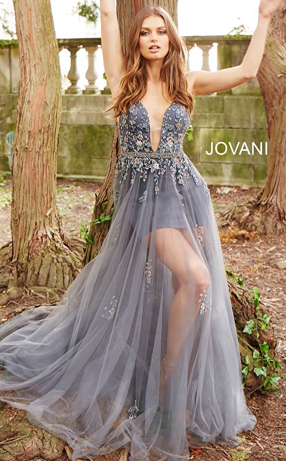 charcoal floor length plunging neck prom dress 55621