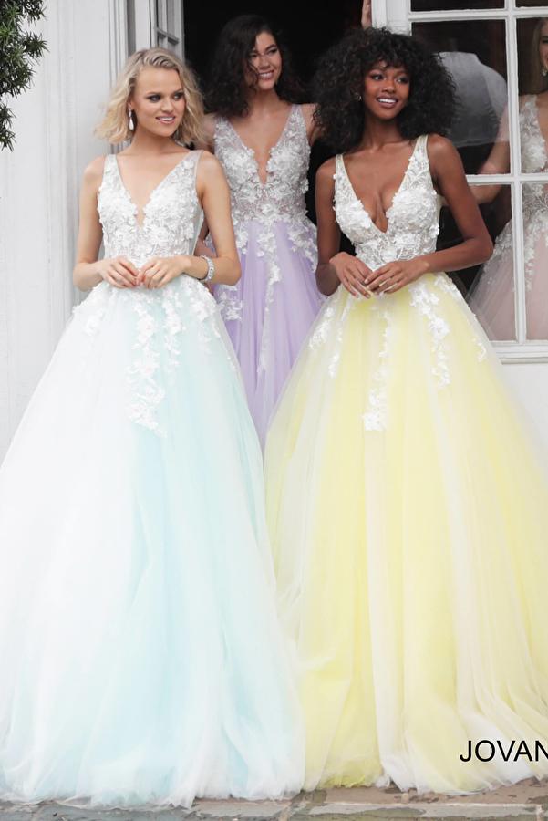 Jovani 55634 Floral Appliques Prom Dress 2020
