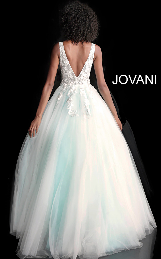 off white pink back view floor length prom ballgown 55634