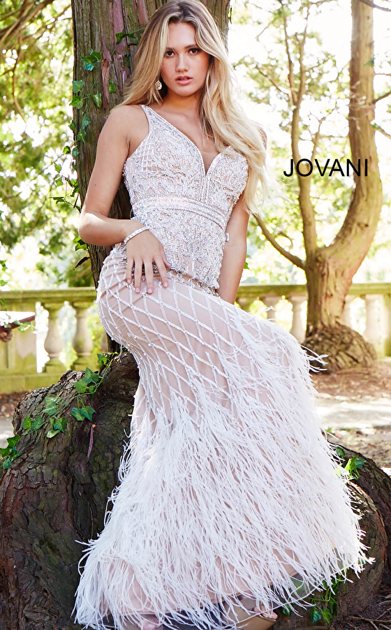 plunging v neck feather skirt fitted ivory prom dress 55796