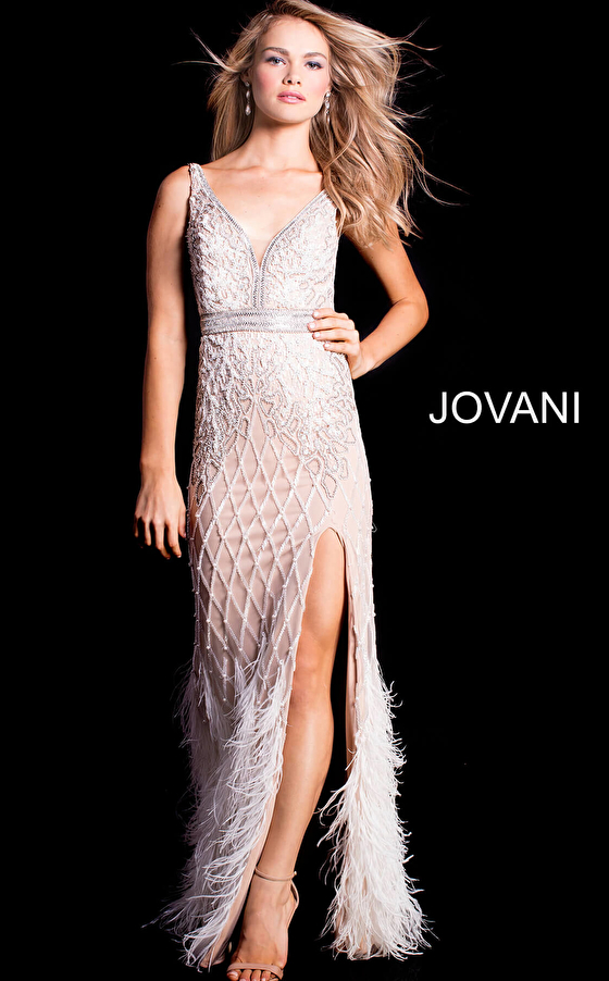 ivory jovani prom dress with feather bottom 55796