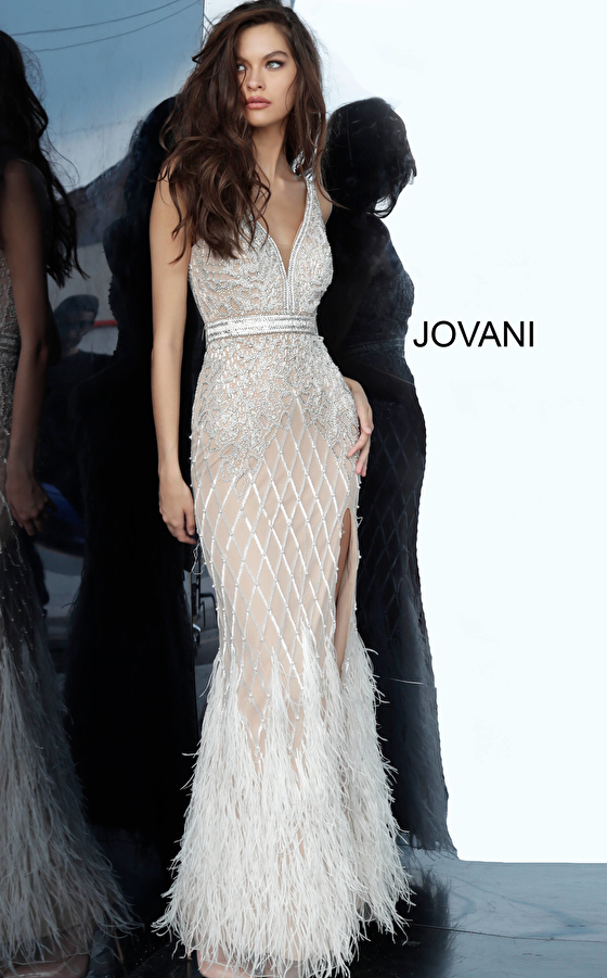 Ivory Embellished V Neck Fitted Jovani Dress 55796