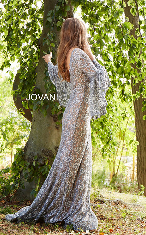 silver nude prom dress with long train 57048 back view