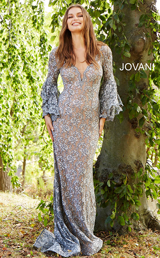 silver nude three quarter sleeve lace prom dress 57048