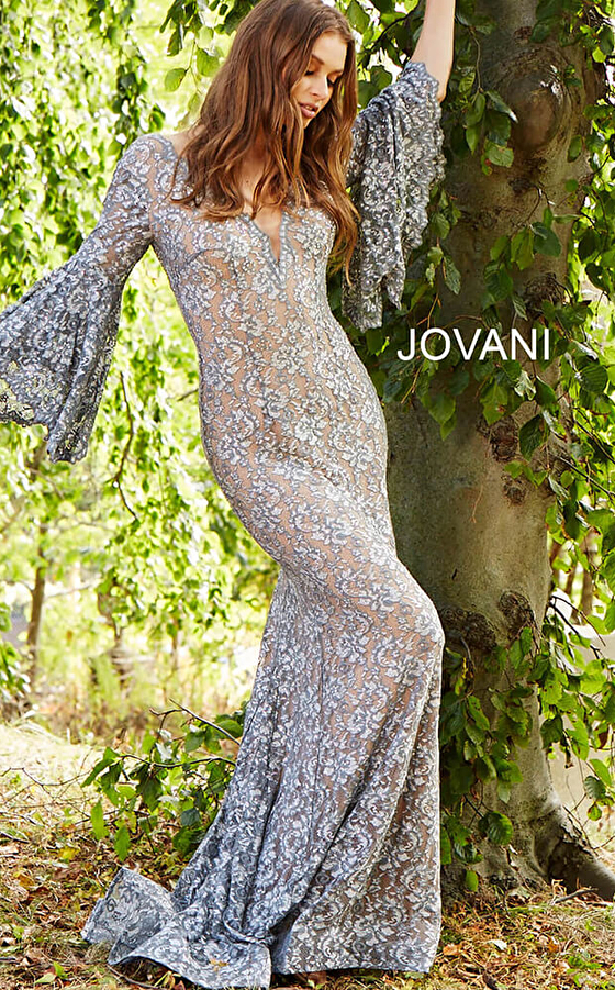 silver embellished lace nude underlay prom dress 57048