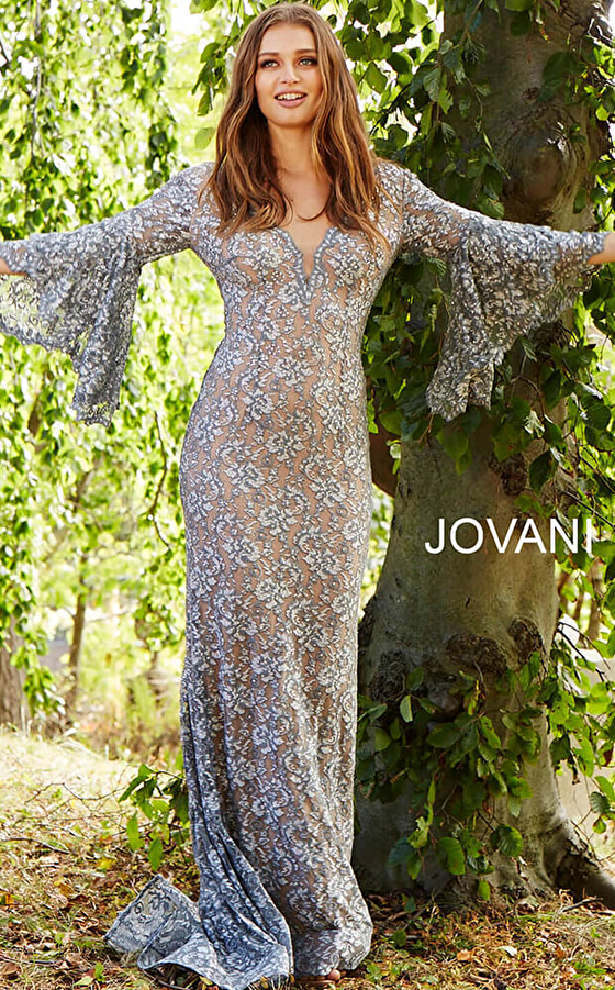 silver nude v neck bell sleeves prom dress 57048