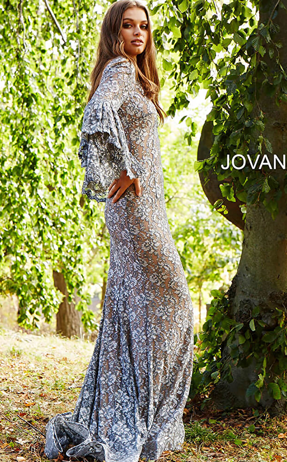silver nude jovani prom dress 57048 side view