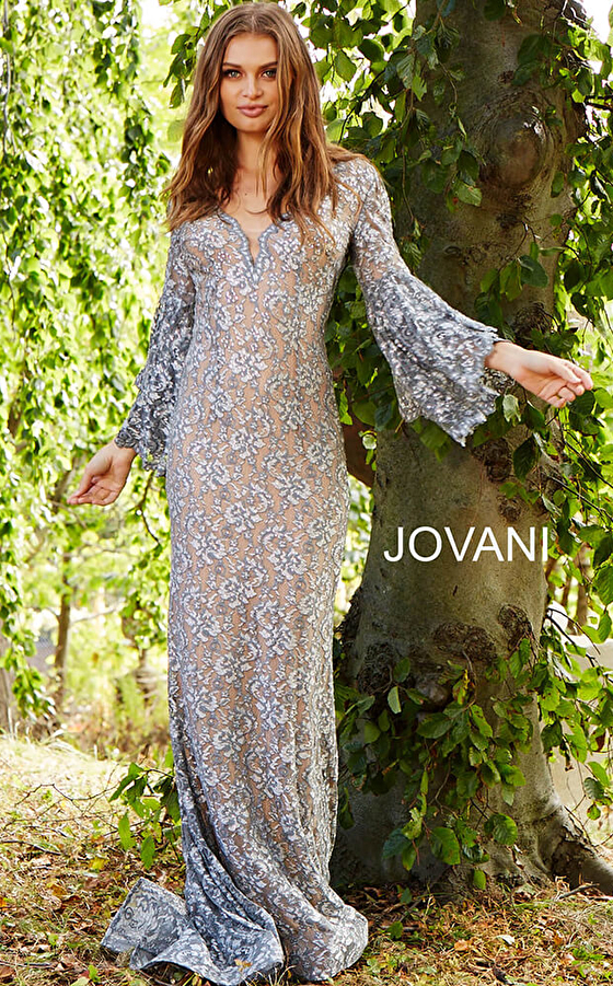 form fitting silver lace dress 57048 front view