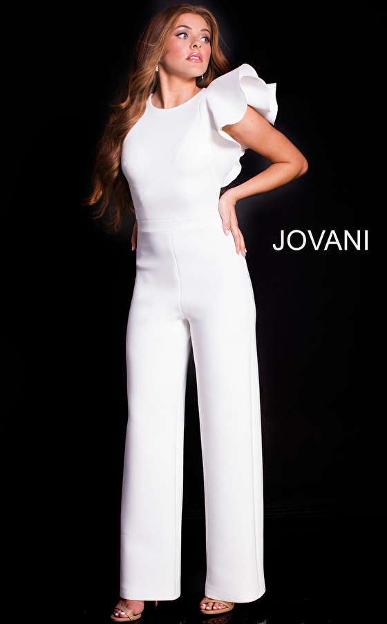 white fitted bodice straight pant jumpsuit 57239