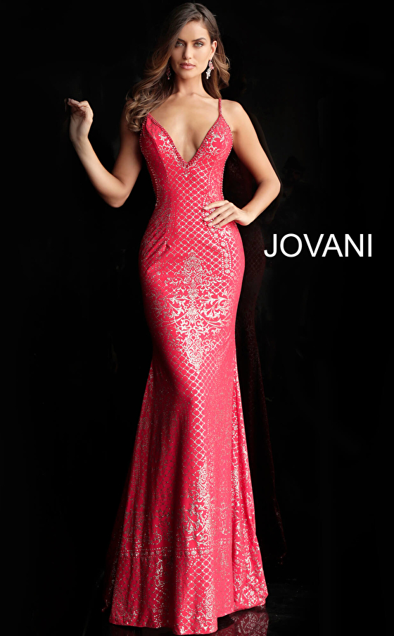 red fitted glitter prom dress 57897