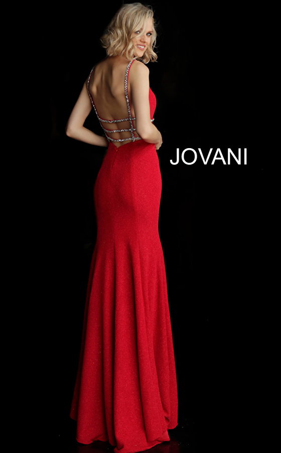 crimson back view glitter jersey prom dress 58549