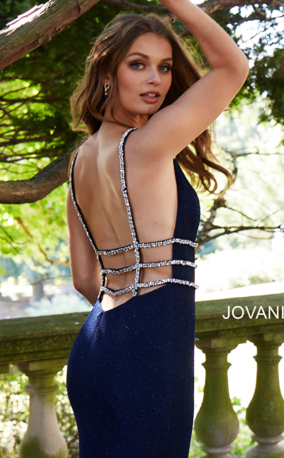 navy backless spaghetti straps prom dress 58549