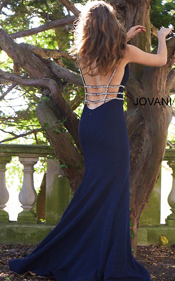 navy long train backless prom dress 58549