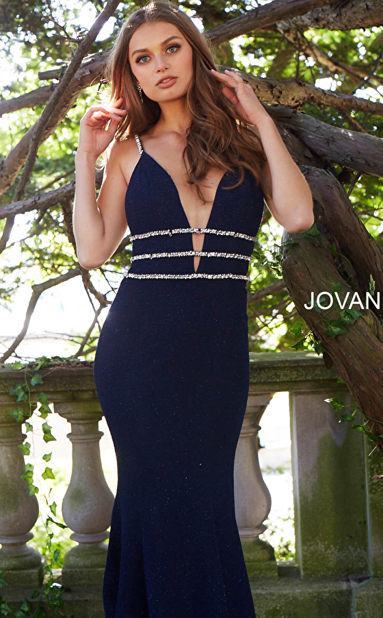navy front view beaded waist sleeveless prom dress 58549