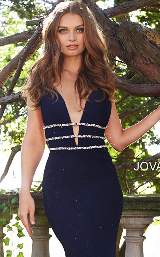 navy form fitting stretch glitter prom dress 58549