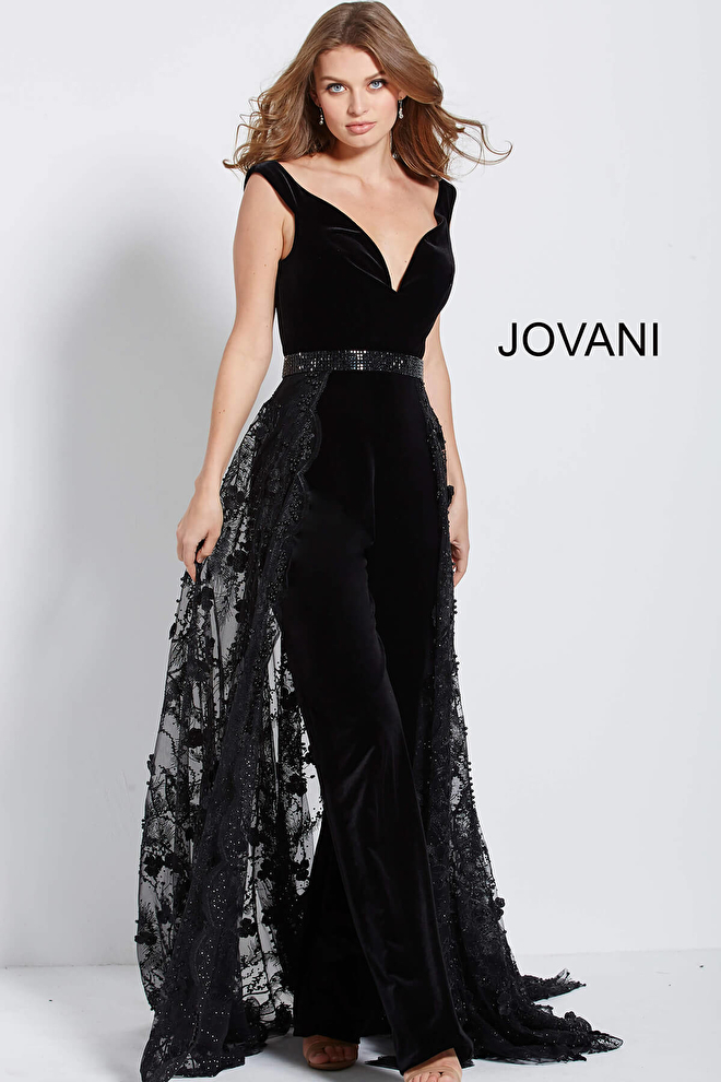 c78c5f10fc Jovani 58964 Black velvet off the shoulder flare leg jumpsuit with ...