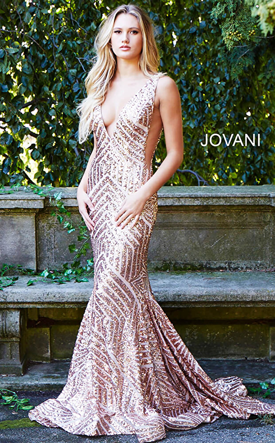 Jovani 59762 Sequin Embellished V Neck