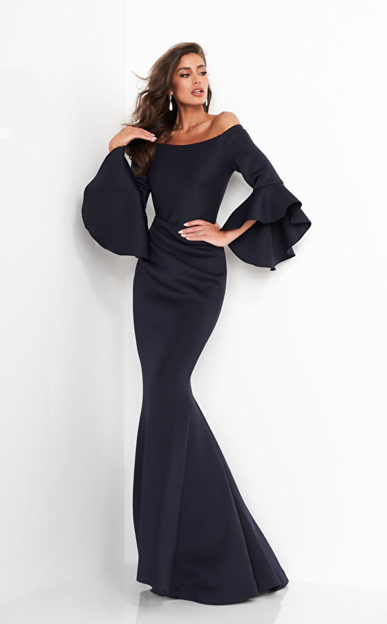 Jovani 59993 Scuba Off the Shoulder Bell Sleeves Mother of the Bride Dress