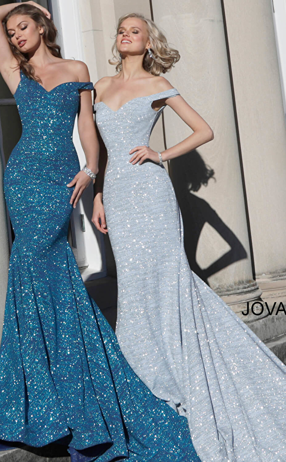 Glitter fitted prom dresses 60122