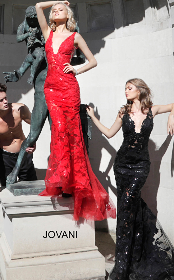 Jovani red fitted sequin sheer prom dress 60283