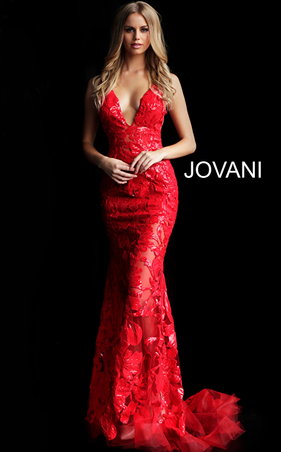 Red sleeveless fitted prom dress with train 60283