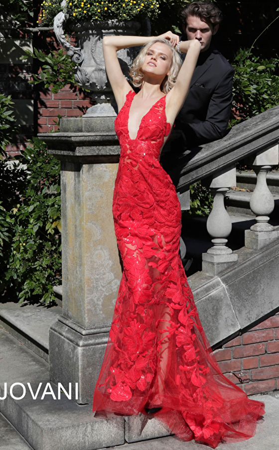 Red fitted flare bottom prom dress Jovani 60283