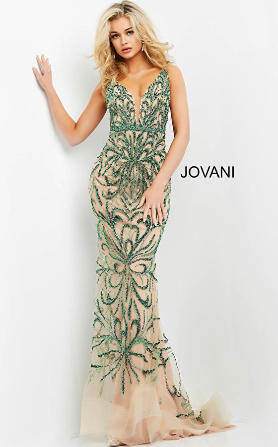 Emerald nude embellished prom gown Jovani 60289