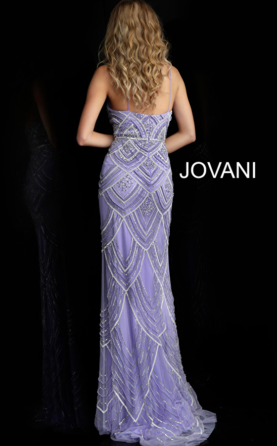Lilac beaded form fitting prom gown 60653