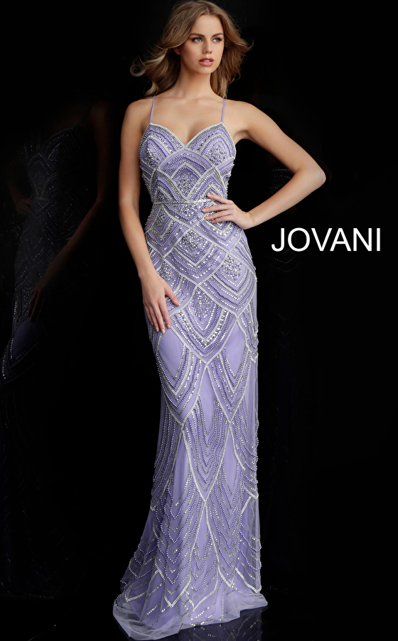 lilac fitted prom gown 60653