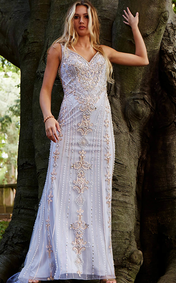 sweeping train embellished grey prom gown 60829
