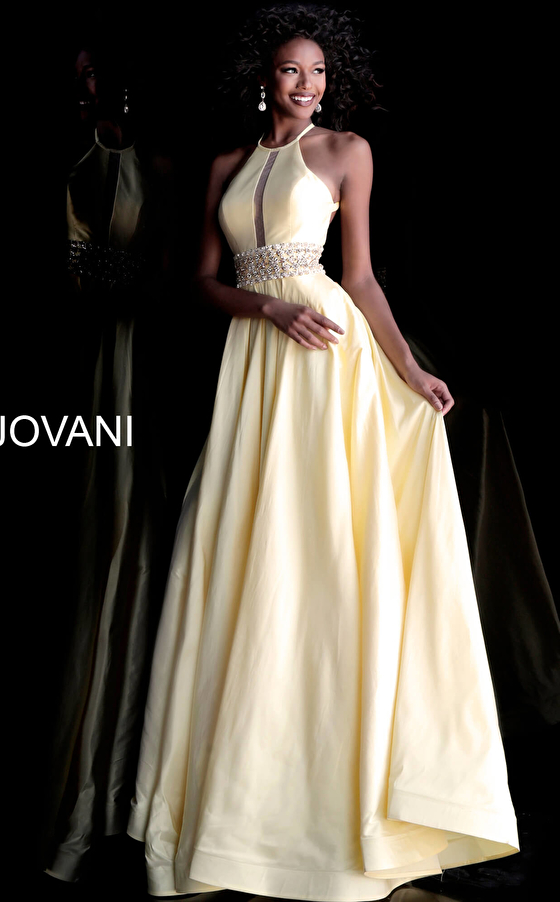 Light Yellow Open Back High Neck Jovani Gown 61645