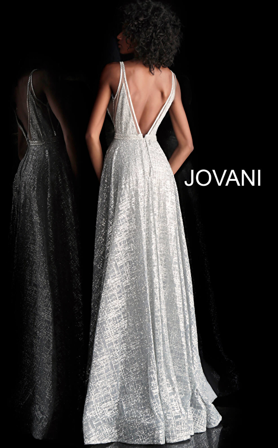 Silver glitter back view plunging neckline prom dress 62515
