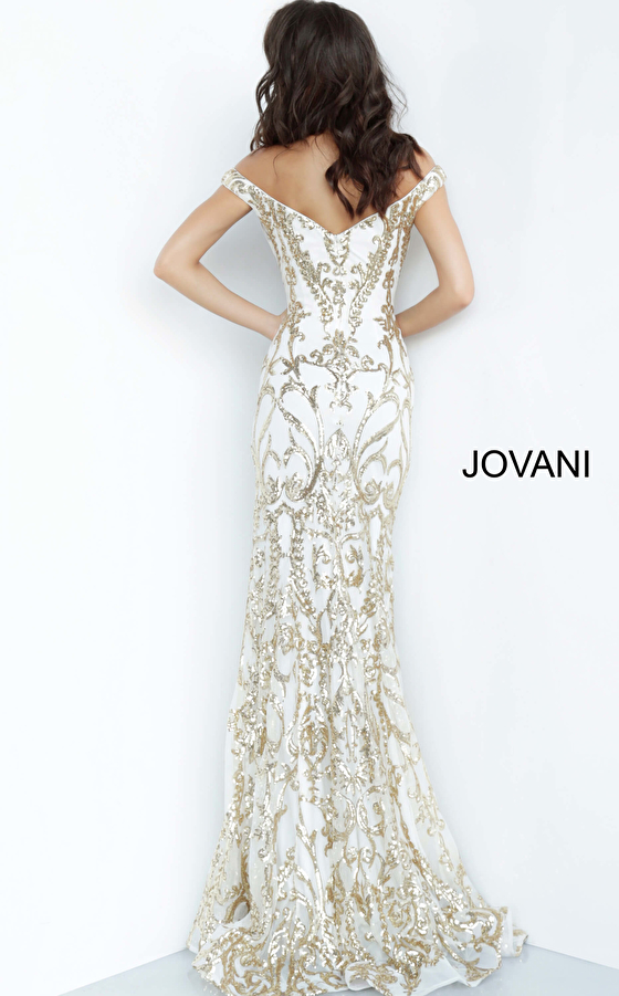 white gold prom dress 63349 back view