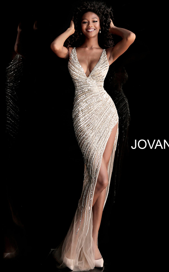 Jovani 63405 High Slit Beaded Dress