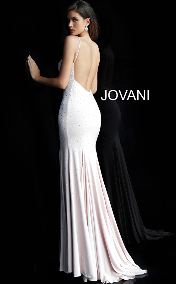 white back view fitted v neck prom gown 63563