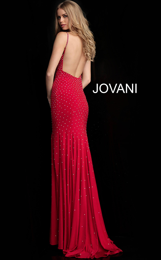 Red beaded with heat set stones v neck prom dress 63563