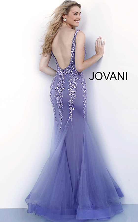 Lavender backless beaded mermaid prom gown 63700