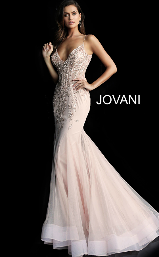 Jovani 63704 Blush V Neck Mermaid Dress