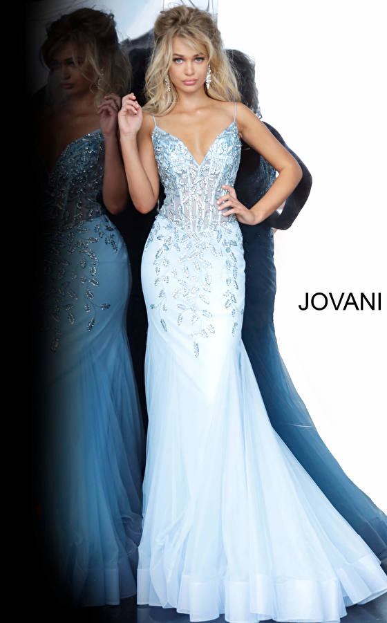 Jovani 63704 Blue Mermaid Embellished Dress