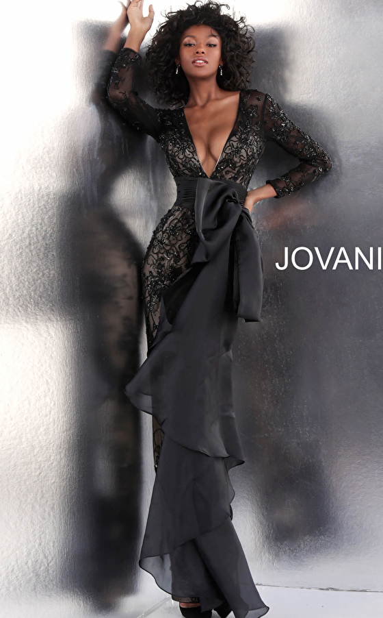 Black Low V Neck Long Sleeve Jovani Jumpsuit 64068