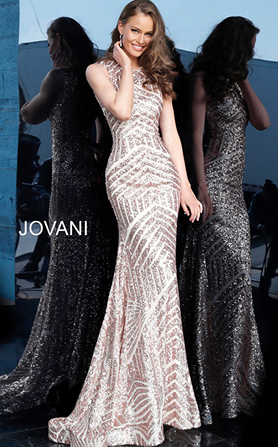 Rose Gold Fitted Sleeveless Sequin Prom Dress 64807