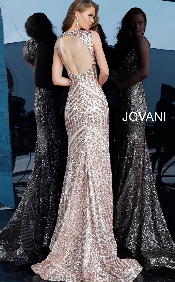 Jovani rose gold open back fitted prom dress 64807