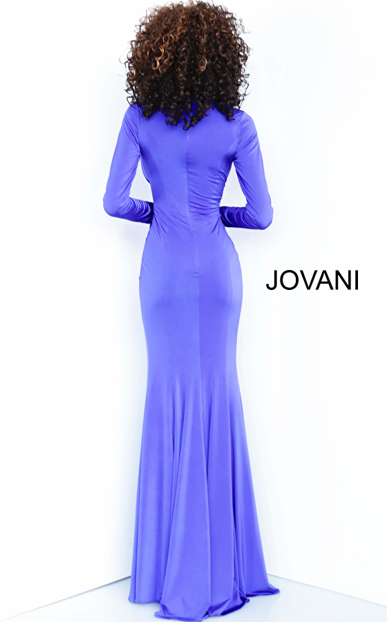Jovani 64983 Black Jersey Plunging Neckline Fitted Evening Dress
