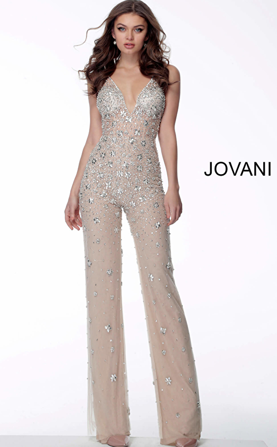Nude Crystal Embellished V Neck Jovani Jumpsuit 65331