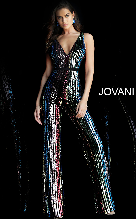 Multi Sequin V Neck Prom Jumpsuit 65396