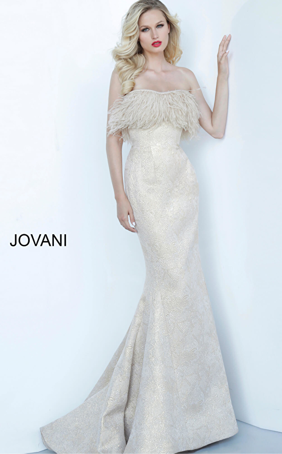 Gold mermaid mother of the bride and evening Jovani dress 66240