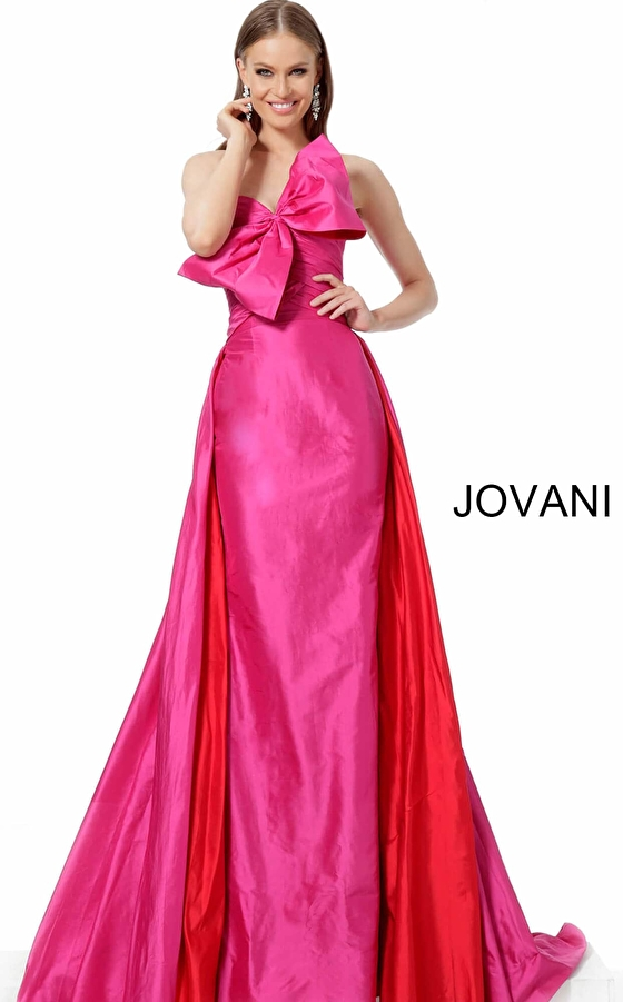 jovani Jovani 66361 Fuchsia Red Strapless Pageant Gown
