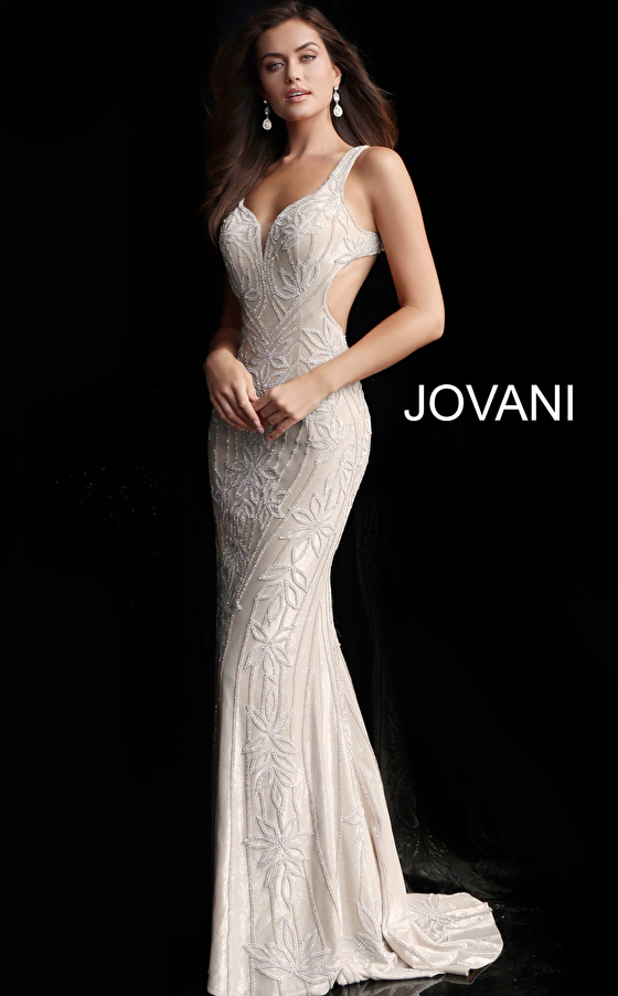 champagne beaded side cut outs prom dress 66965