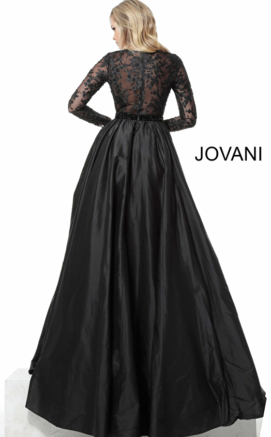 Jovani 67466 Plunging Neckline Long Sleeve Mother of the Bride Gown